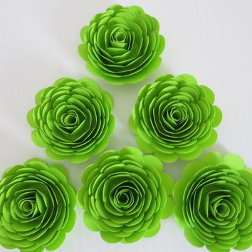 "Neon Green Paper Flowers, Set of 6, Big 3"" Roses, Lime Green Skating Party Decorations, Wedding Decor, Table Centerpiece, Teen Bedroom Art"