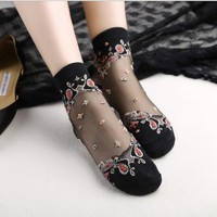Butterfly flower crystal goth punk thin short socks