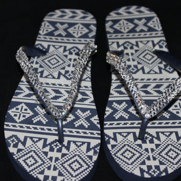Navy blue flip flops with beautiful Swarovski Crystals, fun flip flops, bling flip flops, flip flops with rhinestones, navy blue with bling