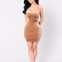 Luxury Stars Dress - Brown
