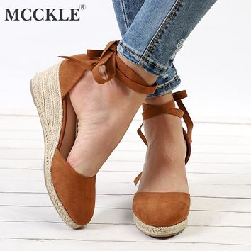 Brown  Shoes Ankle Strap Pumps Straw Heels Platform Wedges