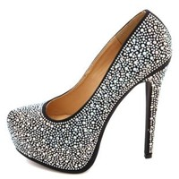 Diamond Princess Rhinestone Platform Pumps - Black Multi