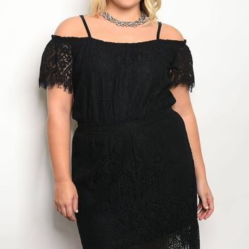 Black Plus Size Lace Overlay Dress
