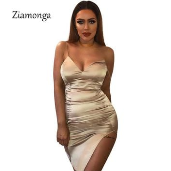 Ziamonga 2017 Summer Spaghetti Strap Midi Pencil Dress Women High Split Satin Silk Bandage Dress Female Bodycon Party Dresses