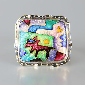 Vintage CR Dunetz Sterling silver Enamel Ring Coyote Southwestern abstract