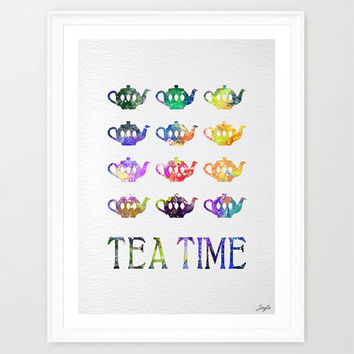Tea Time Watercolor Art,Love Poster,Housewarming,Wedding,Valentines,Birthday Gift,Relaxing art prints,Home/Kitchen decor,#312
