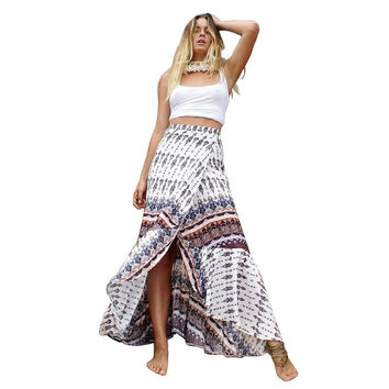 Boho Inspired women skirt Floral Printed maxi long Summer casual cotton skirt Gypsy style 2017 fashion brand women clothing