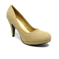 Women's Modesta Suede Slip On Pumps Aston-12 Tan