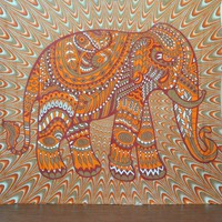 Orange Tribal Elephant Boho Bohemian Bedspread Beach Blanket Wall Tapestry