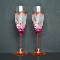 Bordeaux Wedding Champagne Glasses, Toasting Flutes, Roses, favor gift, wedding decoration, pink and copper