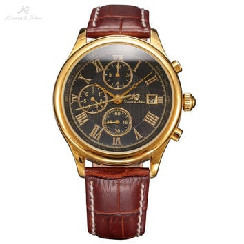 IMPERIAL KS Retro Skeleton 6 Hands Clear Mineral Glass Golden Case Calendar Brown Leather Strap Men Mechanical Watches / KS149