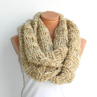 Knitted Scarf.infinity scarf,Block Infinity Scarf. Loop Scarf, Circle Scarf, Neck Warmer.ivory,Beige,Crochet Infinity