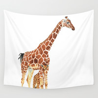 Giraffe Art - A Mother's Love - By Sharon Cummings Wall Tapestry by Sharon Cummings