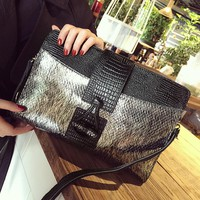 luxury designer cowhide alligator day clutch bag for women gold silver party evening wedding bag small single shoulder chain bag