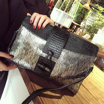 European and american style cowhide alligator day clutch bag gold silver envelope party evening bag small single shoulder bag