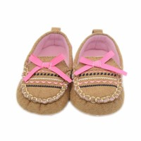 1Pair Baby Infant Kid Boy Girl Soft Bow Toddler shoes