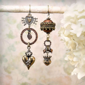 Trueheart OOAK Asymmetrical Dangle Earrings, Rustic Mixed Metal Assemblage Earrings, Romantic Bohemian Noblewoman Copper Bronze Earrings