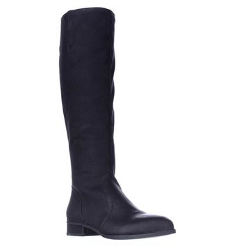 Nine West Nicolah Wide Calf Riding Boots, Black Leather, 5.5 US
