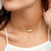 Simple Three pearl necklaces pendant chain