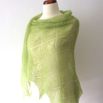 ON SALE lace shawl silk mohair handknitted green leaf motif luxurious