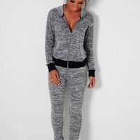 Daze Grey Marl Sequin Embellished Hoody | Pink Boutique