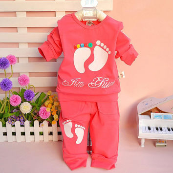 T-shirt +pants 2pcs/set footmark or cat children clothes suits