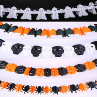 Fun Halloween Decoration Paper Chain Hanging Paper Garland Funny Prop Pumpkin Bat Ghost Skull Door Hanger Halloween Party Props