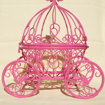 Pink Cinderella Pumpkin Carriage - Cute Princess- Great for a Little Girl's Room or a Wedding Table Centerpiece