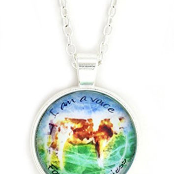 Vegetarian Voice For the Voiceless Necklace Silver Tone NX46 Animal Rights Vegan Cow Art Print Pendant