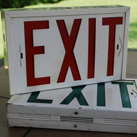 Pair of Vintage Lighted Exit Signs, Metal Box Sign, Industrial Factory Chic, Typography, Dorm Room Decor