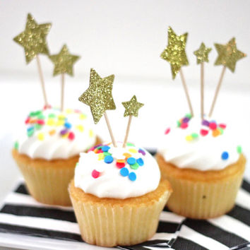 Gold Glittered Star Cupcake Topper by michiemay on Etsy