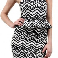 Zig Zag Peplum Mini - Diva Hot Couture
