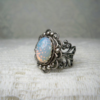 Ring - White Opal Ring -  Silver Ring - Vintage Style  -  Free Shipping