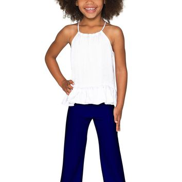 Mystic Indigo Amelia Navy Stretch Chic Palazzo Pant - Girls