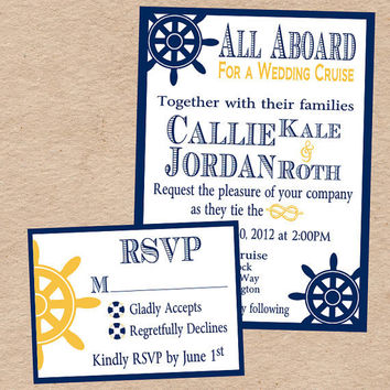 Nautical Wedding Invitation & Response Card by DecorableDesigns