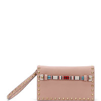 Small Beaded-Strap Rockstud Clutch Bag, Brown