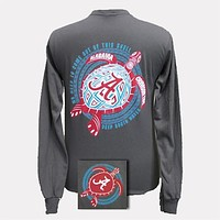 Alabama Crimson Tide Turtle Charcoal Bright Girlie Girl Long Sleeve T Shirt