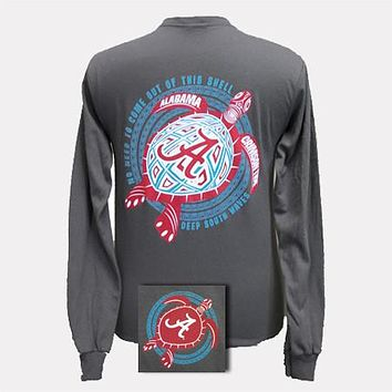 SALE Alabama Crimson Tide Turtle Charcoal Bright Girlie Girl Long Sleeve T Shirt