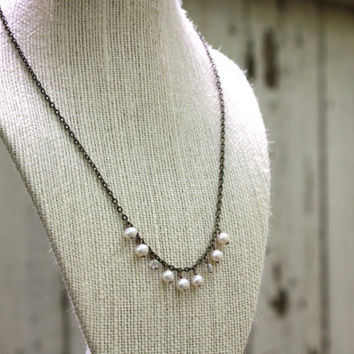 Freshwater Pearl Necklace on Brass with Swarovski Crystals