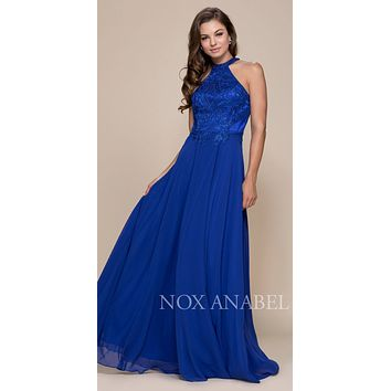 Royal Blue High Neck Embroidered Long Prom Dress Cut Out Back