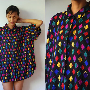 Vtg Colorful Diamonds Print Oversize Black SS Shirt