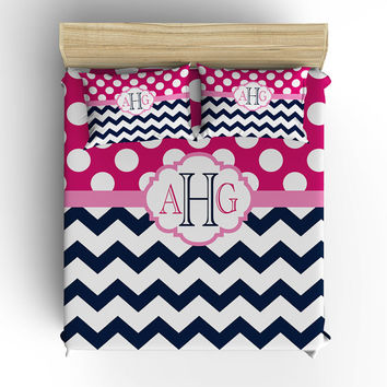 DUVET COVER, BEDDING Comforter, Polka Dot Chevron Pattern, Pillow Sham, Navy Pink, Toddler, Twin, Queen, King, College Dorm, Girl Bedroom