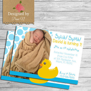 Rubber duck birthday invitation, Rubber duck invite, printable rubber ducky party invitation, First Birthday Photo invite