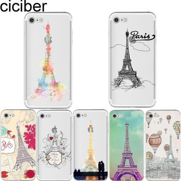 ciciber Fashion London Paris Eiffel Tower Pattern soft silicon case cover For iPhone 6 6S 7 8 plus 5 5S SE X Capinha Coque Capa