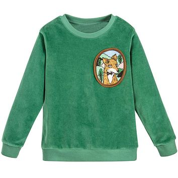 Baby Girl Sweatshirt Children Green Pink Velour Fox Fleece Hoodie Girls Clothes Boys Long Sleeve Tops Kids T Shirts