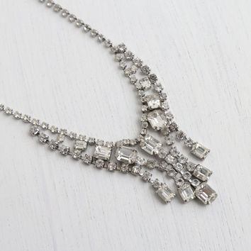 Vintage Faux Diamond Rhinestone Statement Necklace -  Mid Century 1950s Silver Tone Clear Glass Costume Jewelry / Cascading Drops