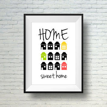 "Printable Wall Art, Instant Download Art Print ""Home Sweet Home"", Home Decor Print, Digital Download Wall Print"