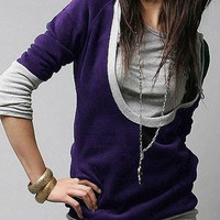 Purple and Gray Long Sleeve Hoodie