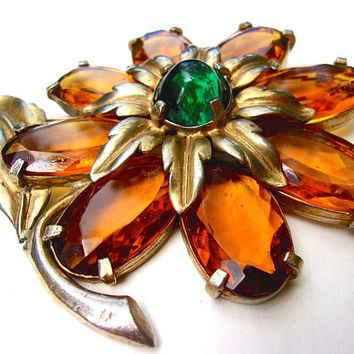 Large Glass Amber Flower Brooch Emerald Green Cabochon, Vintage