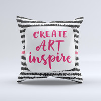 The Create Art Inspire ink-Fuzed Decorative Throw Pillow